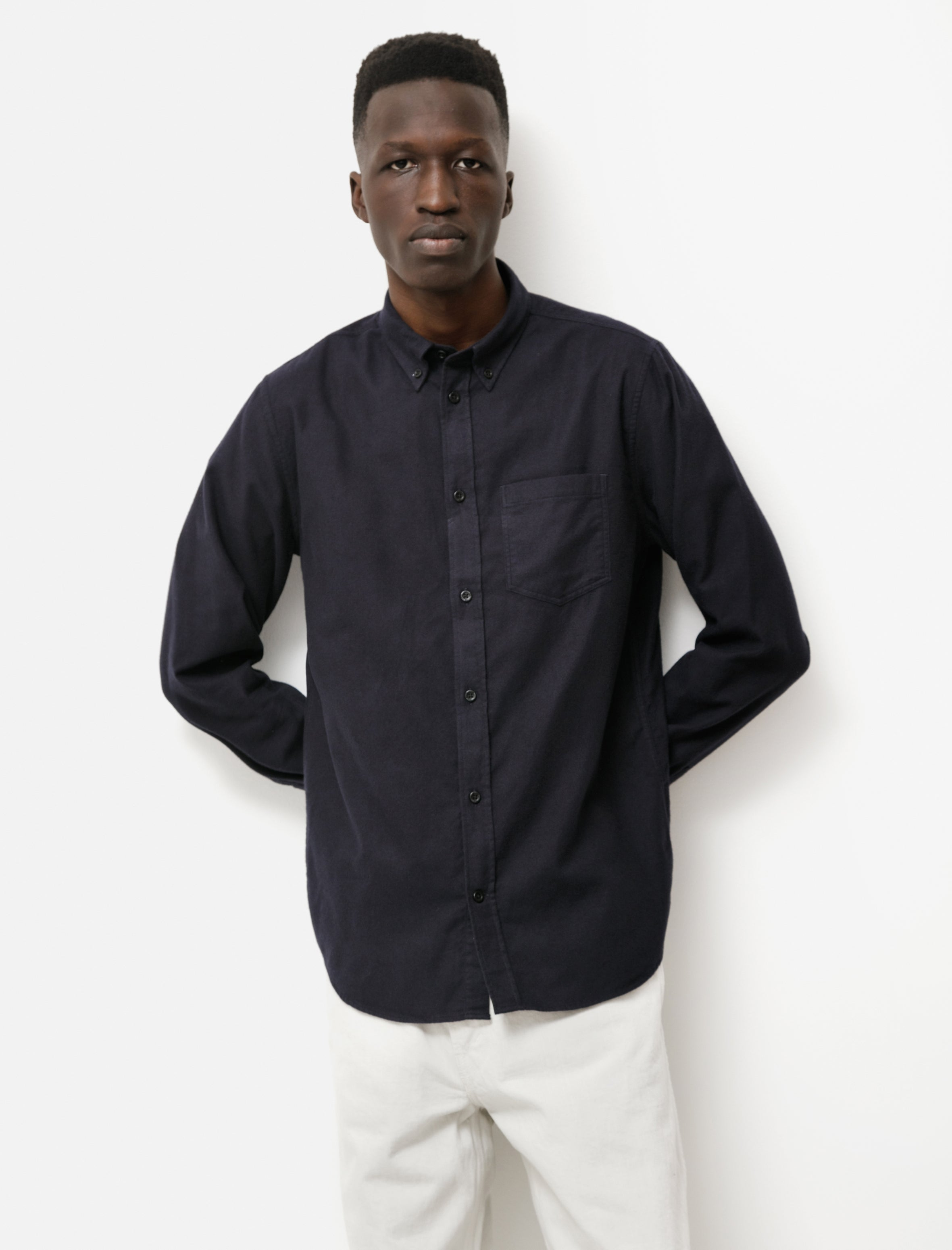 Norse Projects Anton Bushed Flannel Dark Navy