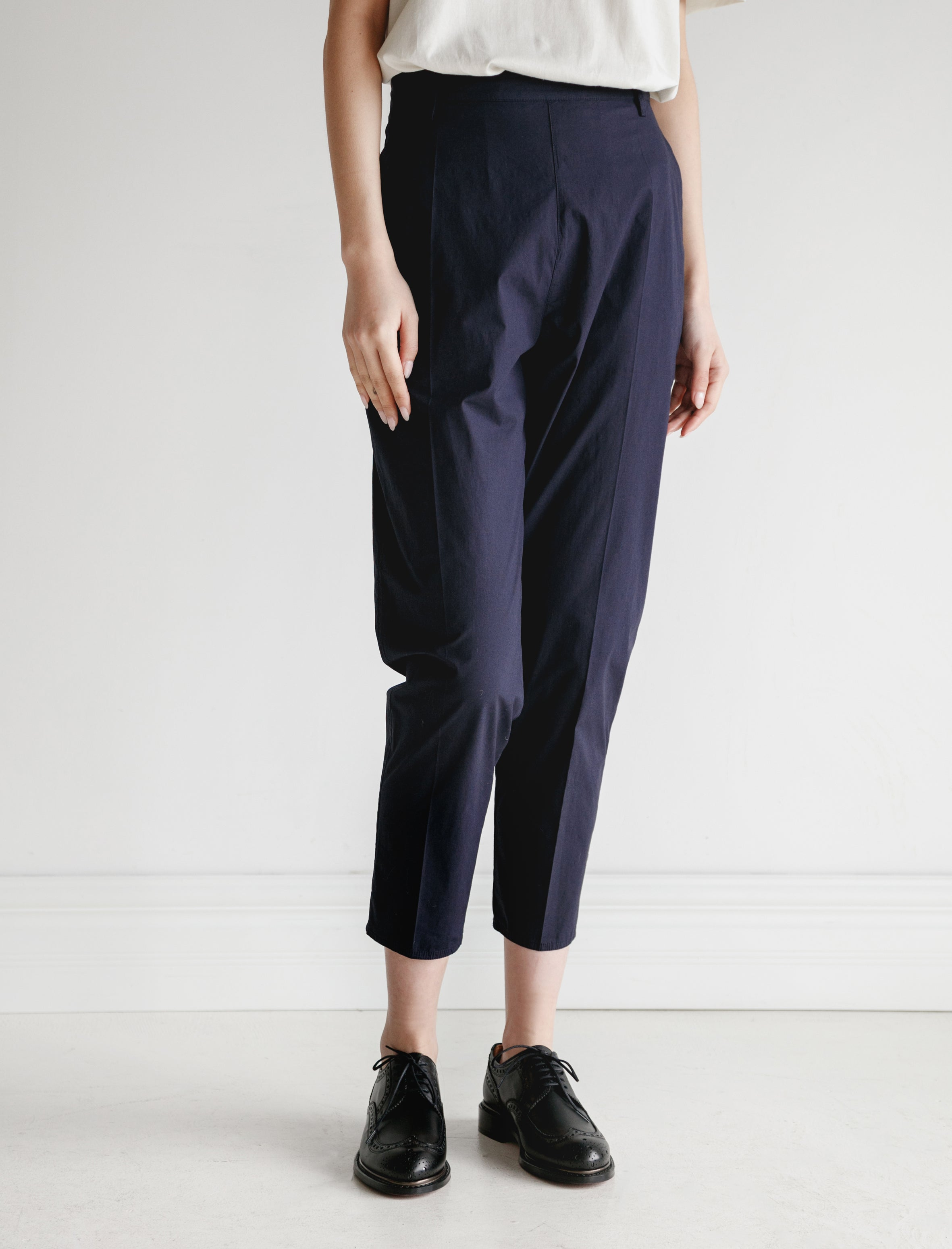 Hache Slim Trousers Poplin Navy