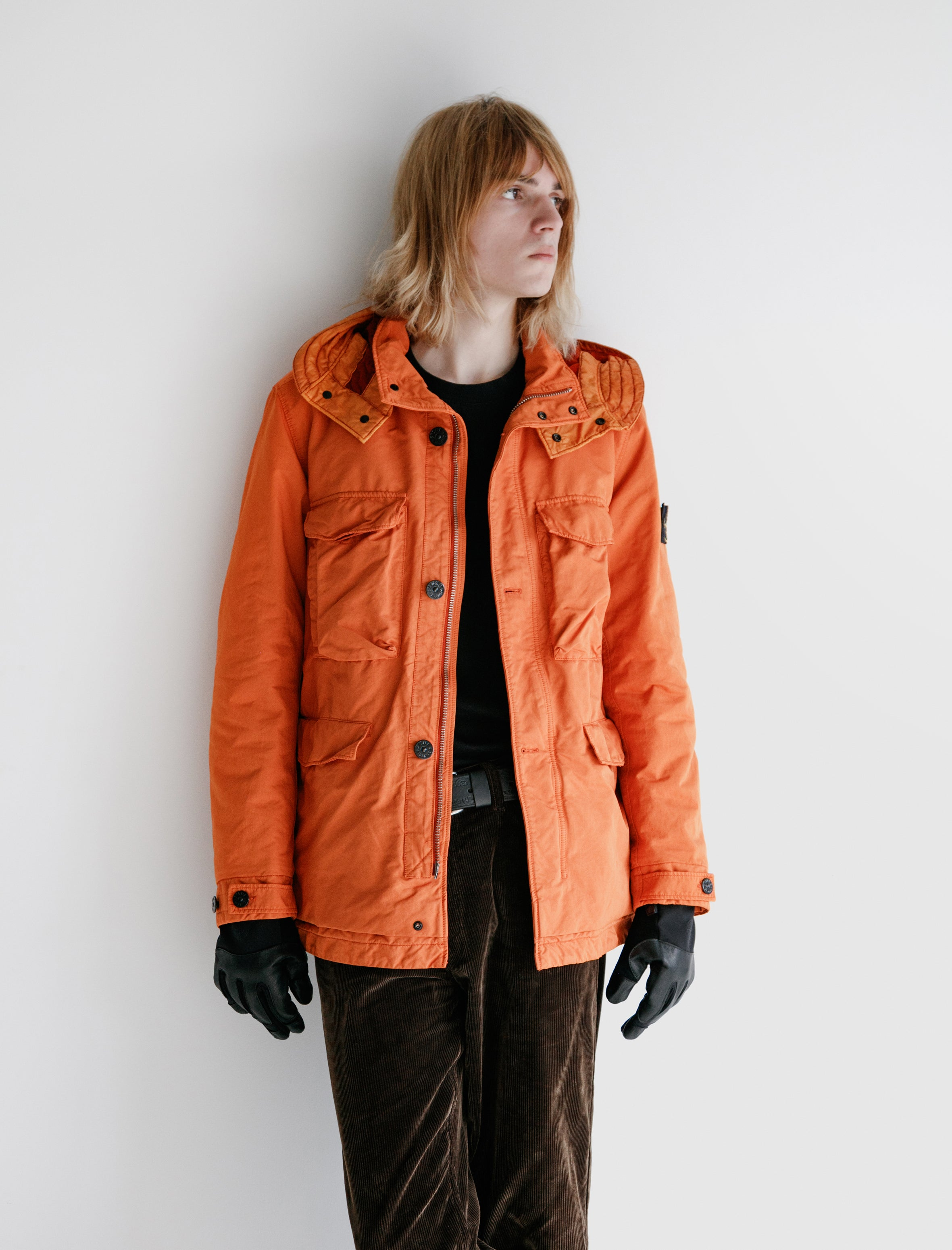 Stone Island Garment Dyed Insulated Parka Orange