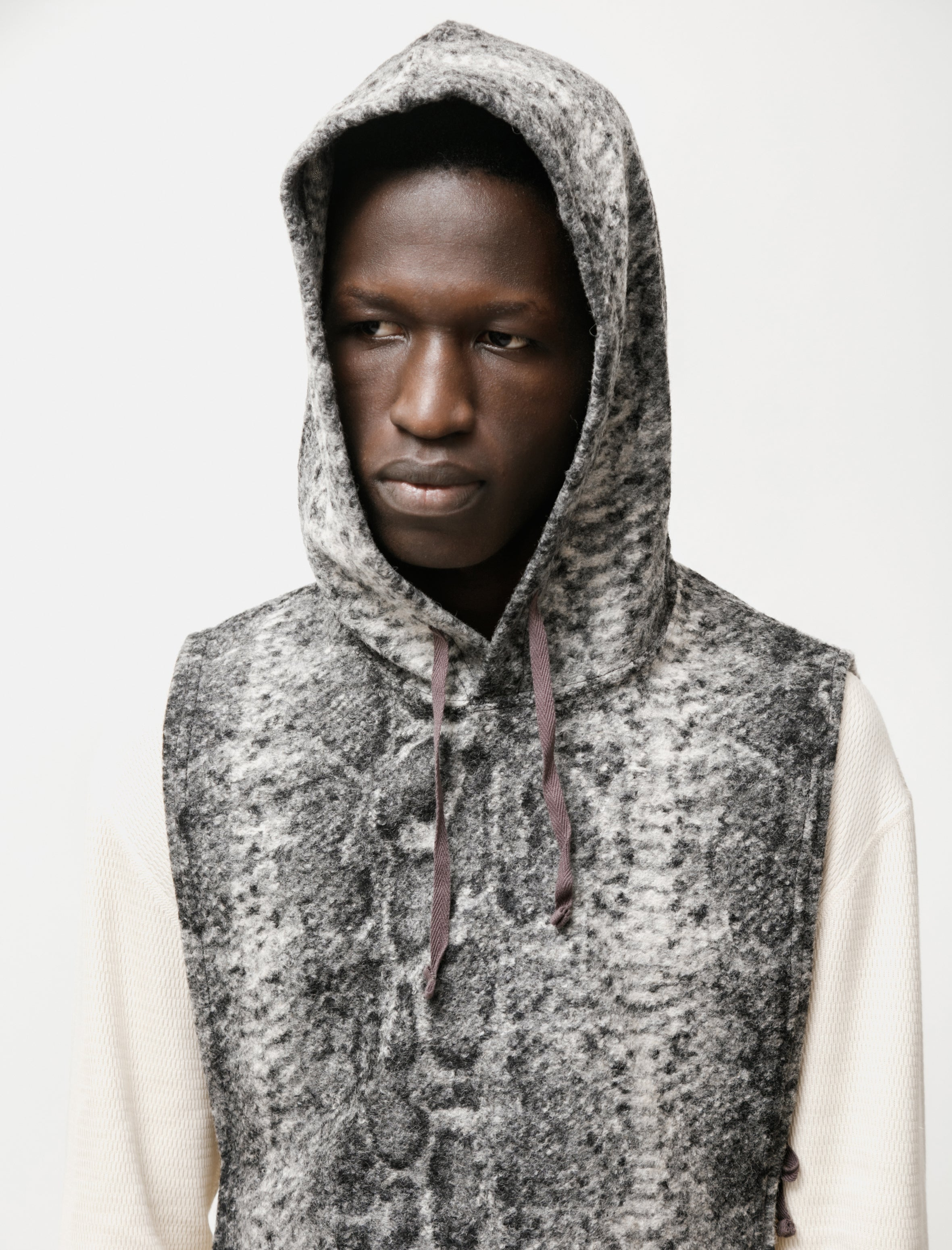 Engineered Garments Hooded Interliner Snake Print Grey