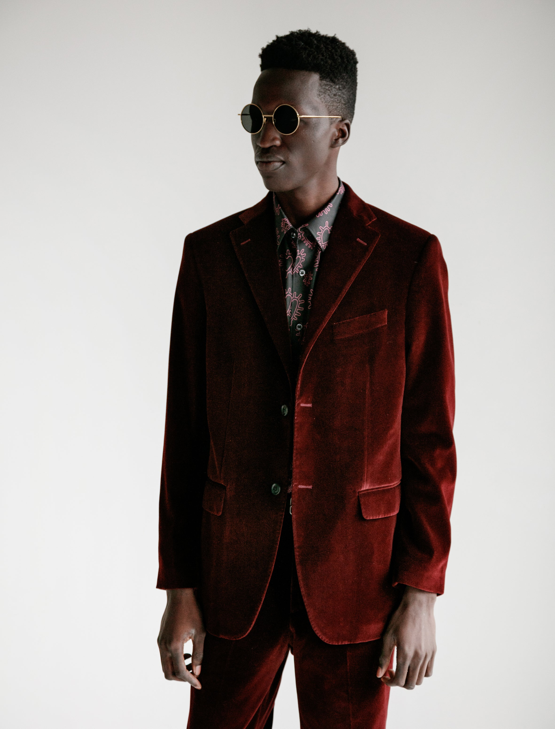 Cobra S.C. Notch Lapel Jacket Cotton Velvet Bordeaux