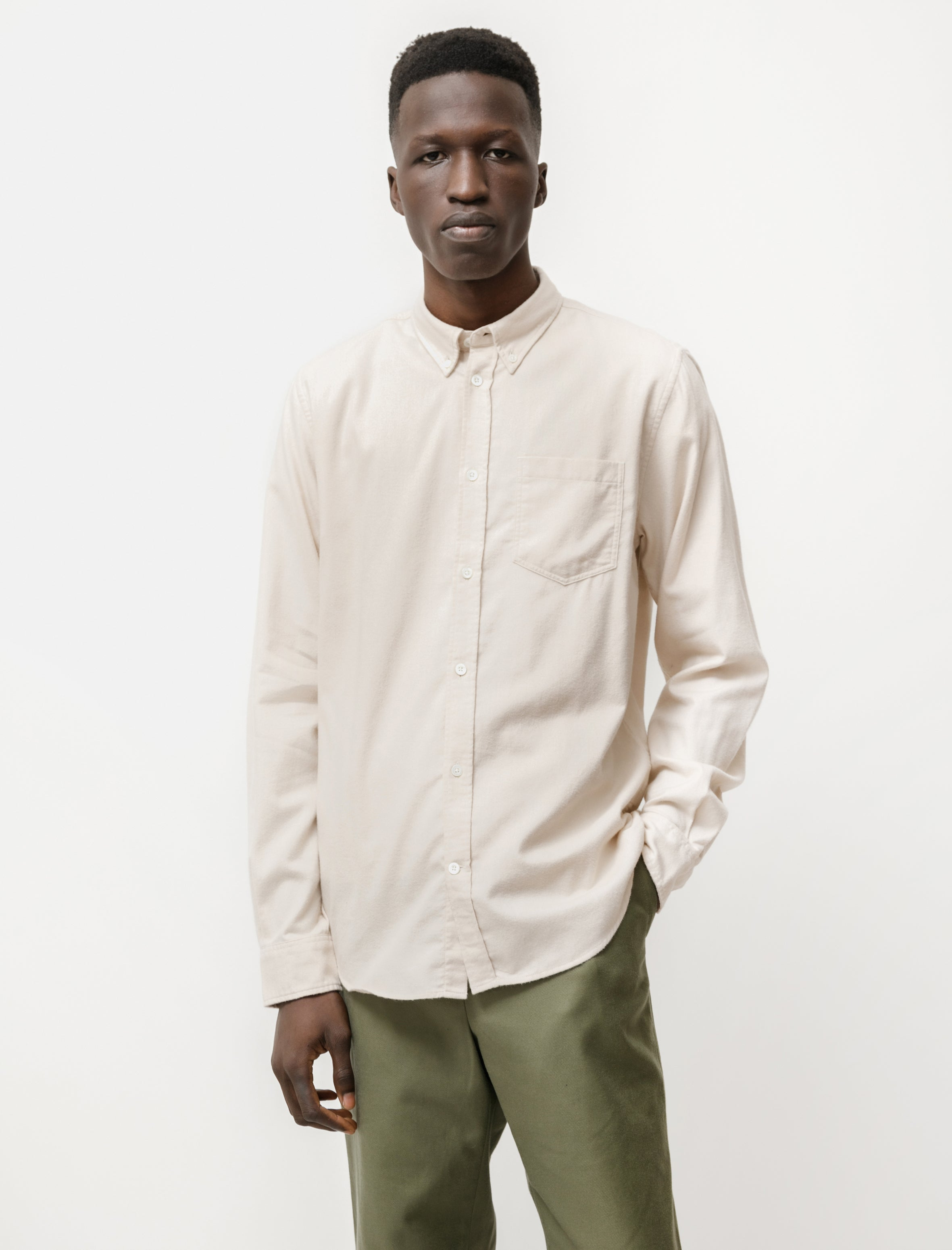 Norse Projects Anton Bushed Flannel Oatmeal