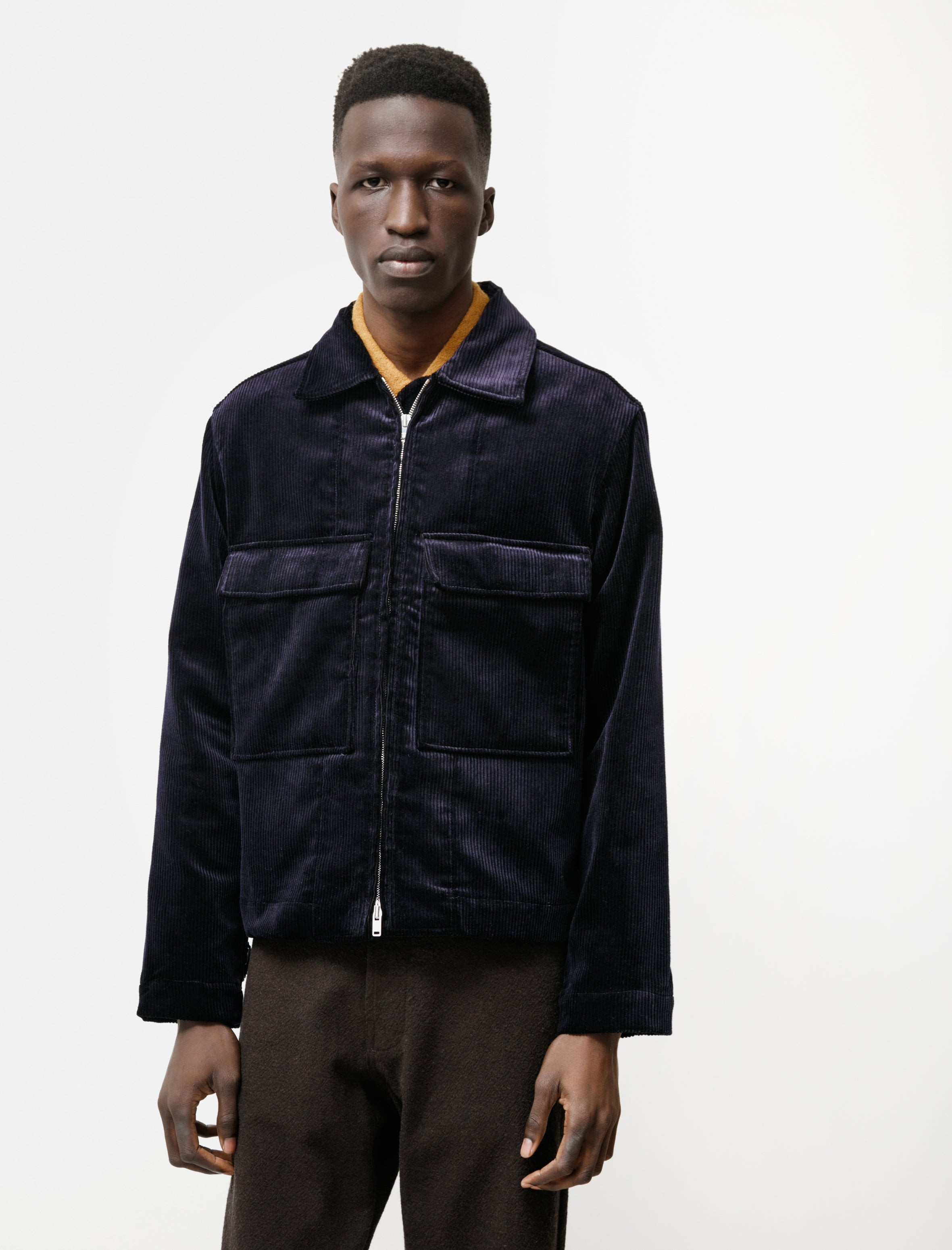 Evan Kinori Zip Jacket Cord Dark Navy