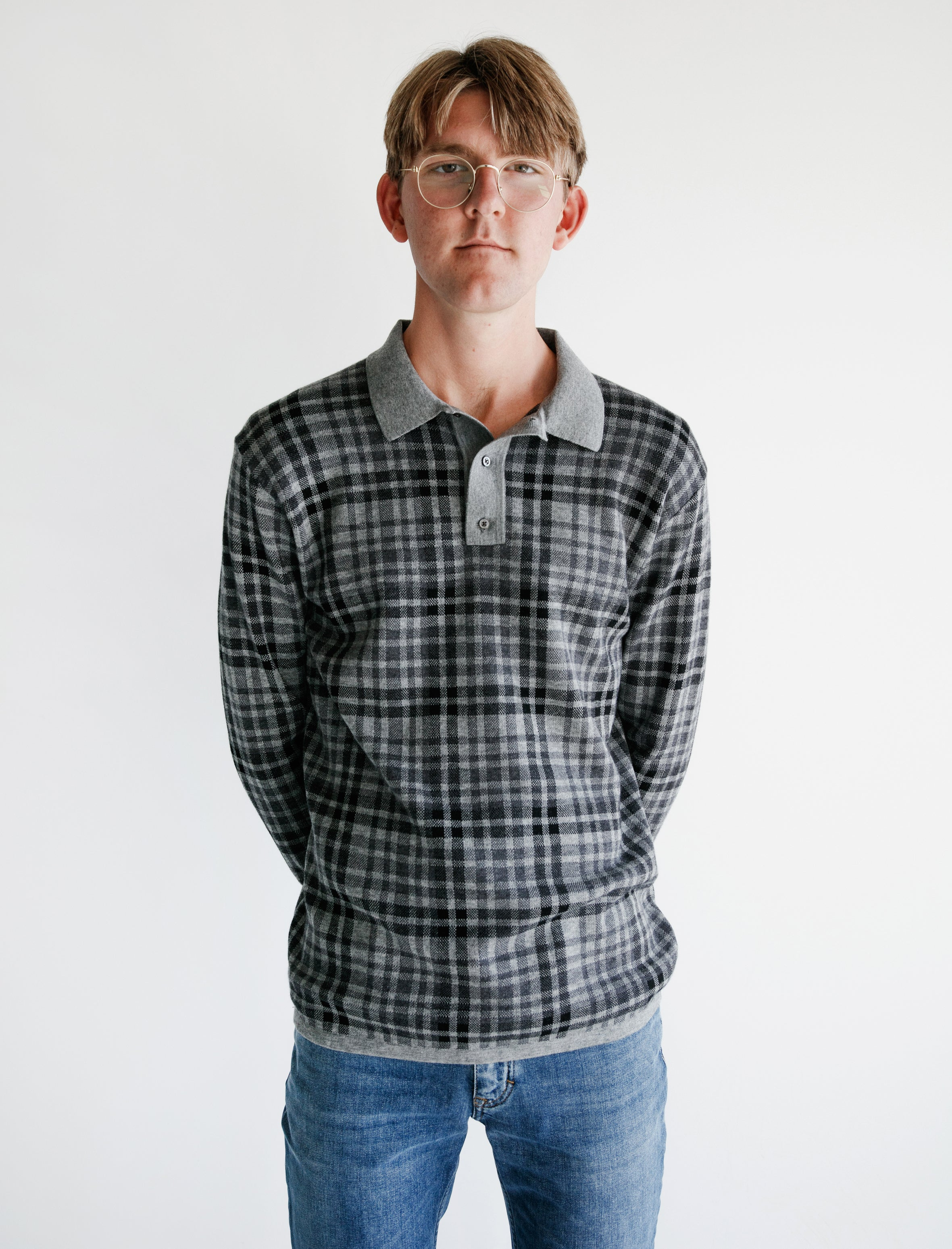 LS Merino Polo Charcoal Plaid