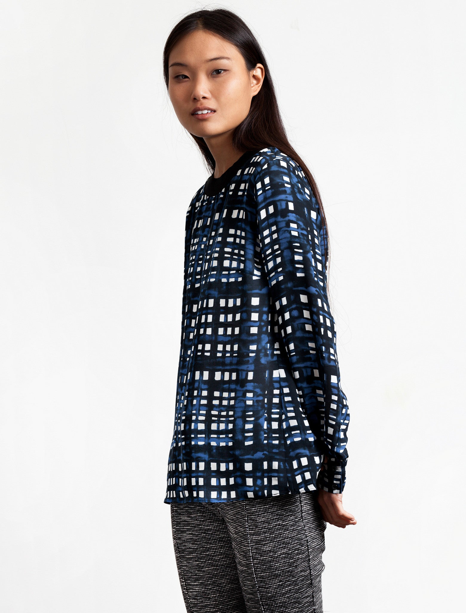 Thakoon Addition Crewneck Navy Plaid Top