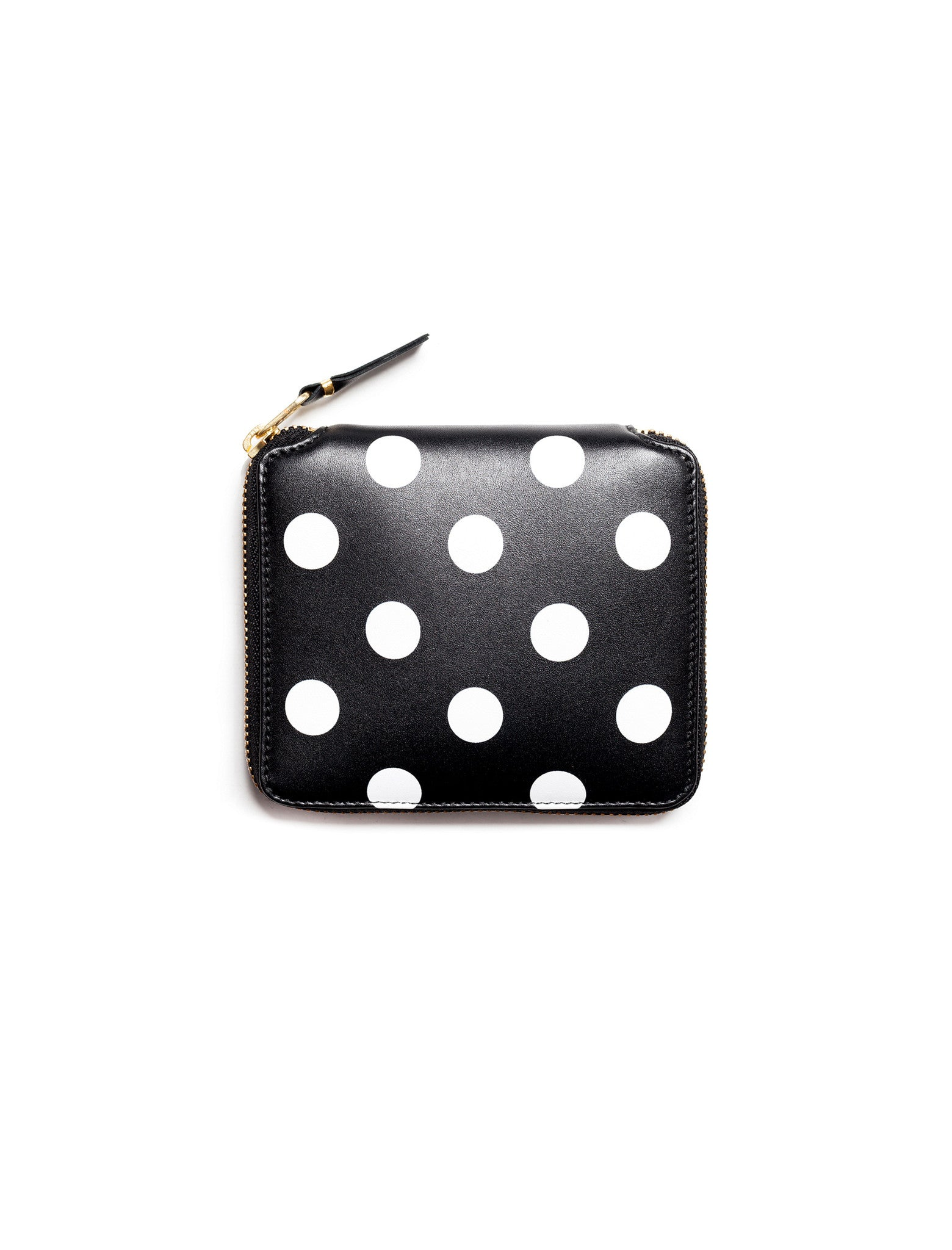 Polka Dots Printed Full Zip Wallet Black - SA2100PD