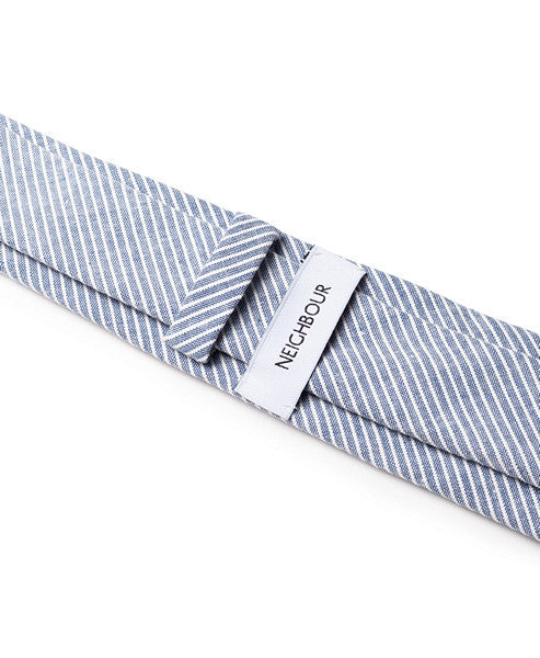 Cotton Tie Navy Striped