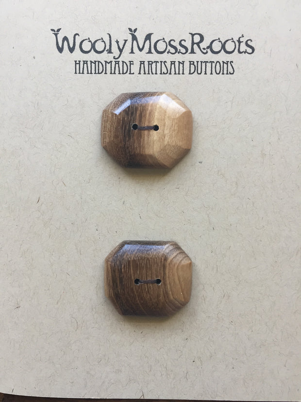 Handmade Artisan Timber Buttons - Oregon Myrtle Wood Rectangular Duo