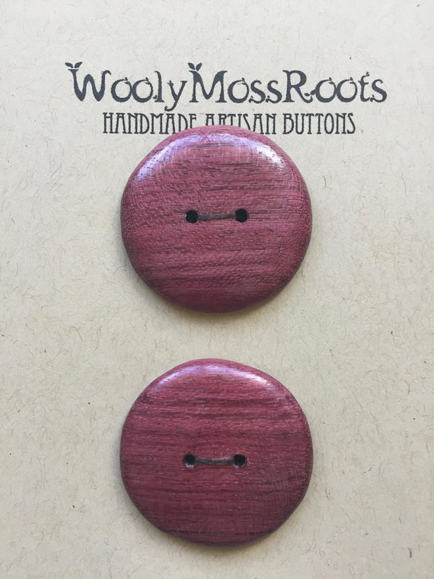 Handmade Artisan Timber Buttons - Reclaimed Purpleheart Round Duo