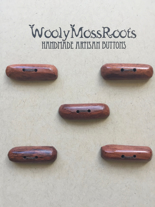 Handmade Artisan Timber Buttons - Recycled Mahogany Toggles
