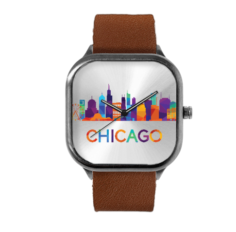 Steel case watch Chicago skyline