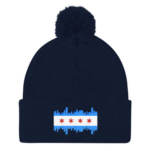 Pom Pom Chicago Flag Skyline Cap Beanie