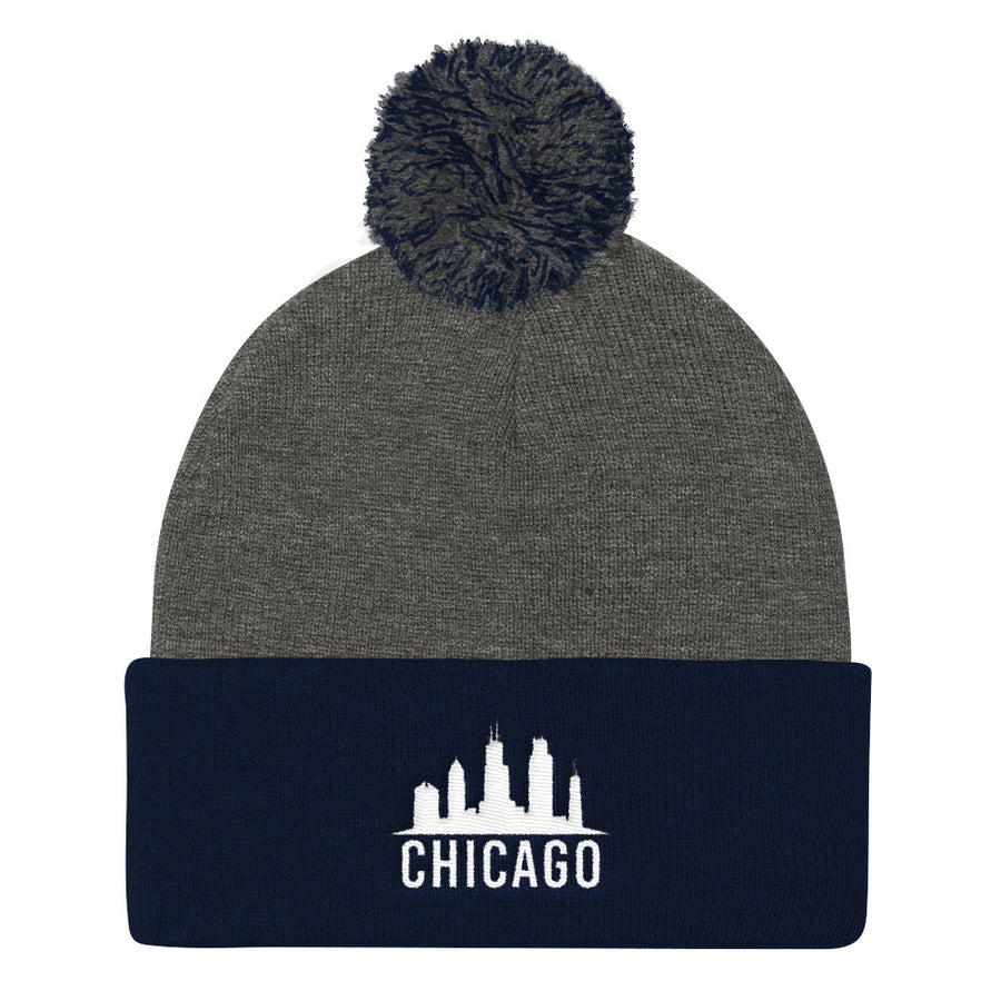Chicago Beanie Skyline Cap with Pom Pom