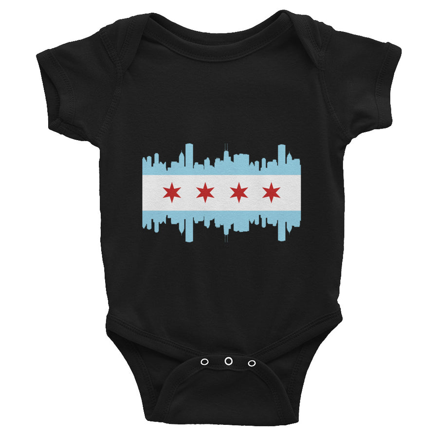 Chicago Baby Bodysuit Flag and Skyline