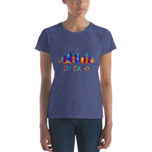 Women's Chicago colorful skyline short sleeve t-shirt
