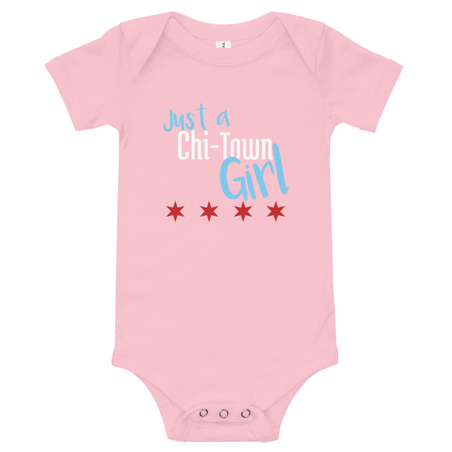 """Just a Chi-Town Girl"" Chicago Baby Onesie"
