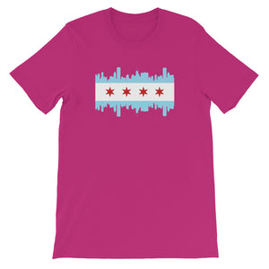 Chicago T-Shirt Flag and Skyline