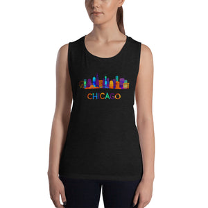 Ladies' Chicago Tank Top Colorful Skyline