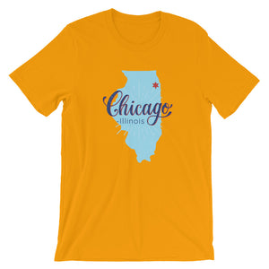 Chicago T-Shirt Illinois Map