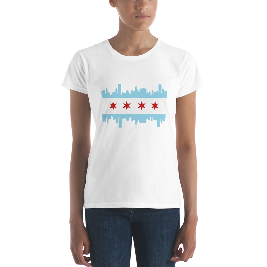 Women's Chicago flag and skyline short sleeve t-shirt
