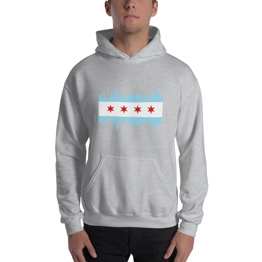 Chicago Hoodie Flag and Skyline