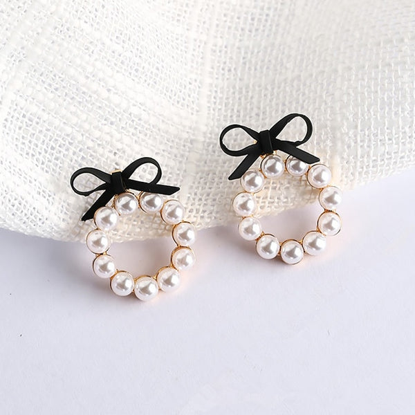 Pearl + Bow Earrings