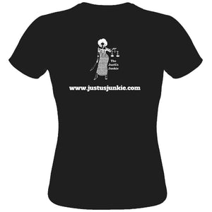 SHUT UP. LAWYER UP. Ladies Fitted Tee (black)