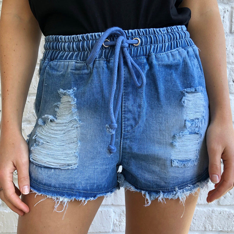 Distressed Jogger Short - Mid - rnayclothing