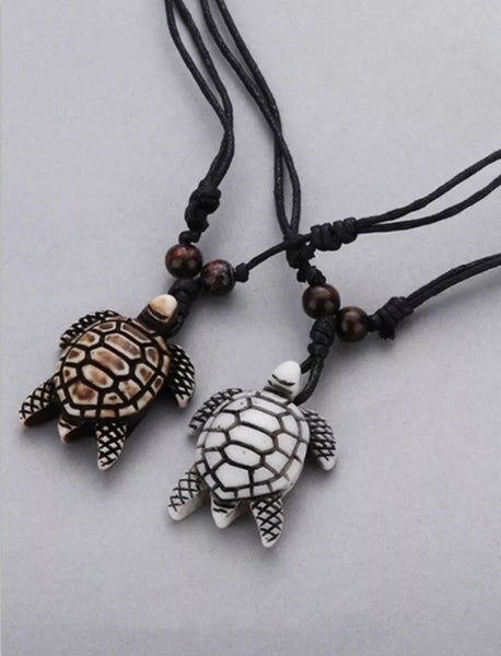 2pcs Yak Bone Charm Turtle Pendant With Adjustable Cord(1 White And 1 Brown)