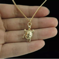 Gold Plated Turtle Pendant Necklace 18""