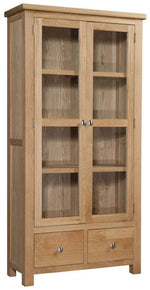 Kingston Oak Display Cabinet / Glass Doors - Inspired Rooms Furniture Superstore