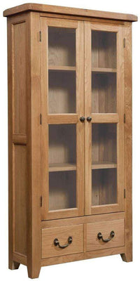 Trafalgar Oak Display Cabinet / Glass Doors - Inspired Rooms