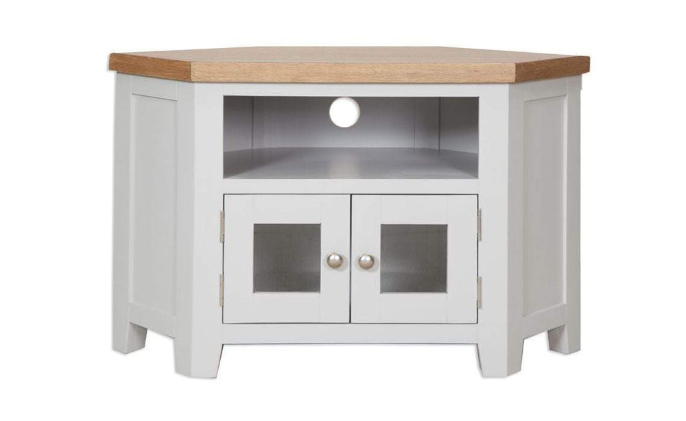 Havana French Grey Glazed Corner TV Cabinet - Inspired Rooms Furniture Superstore
