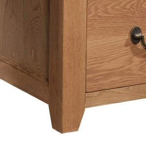 Trafalgar Oak 3 Drawer Office Desk with UKFR PU Top. - inspired-room.myshopify.com