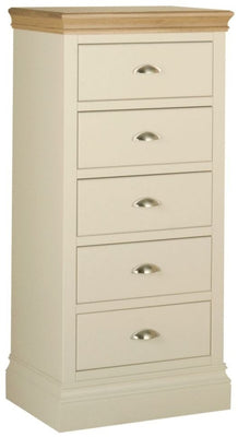Cassis Painted 5 Drawer Bedside Cabinet