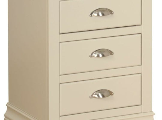 Cassis Painted 3 Drawer Bedside Cabinet