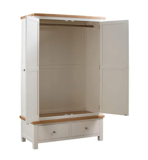 Kingston Cream Gents Wardrobe With 2 Drawers - inspired-room.myshopify.com