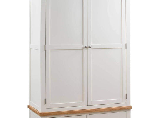Kingston Cream Gents Wardrobe With 2 Drawers - Inspired Rooms