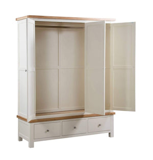 Kingston Cream Triple Wardrobe With 3 Drawers - inspired-room.myshopify.com