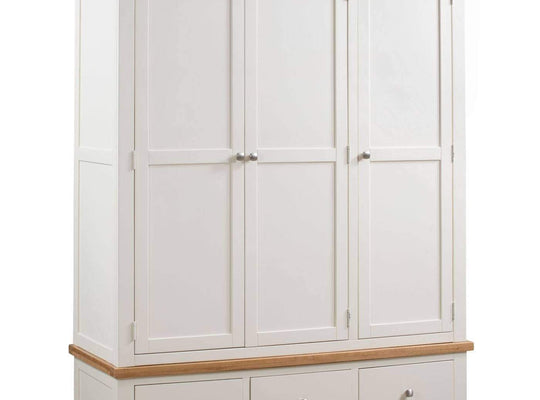 Kingston Cream Triple Wardrobe With 3 Drawers - Inspired Rooms