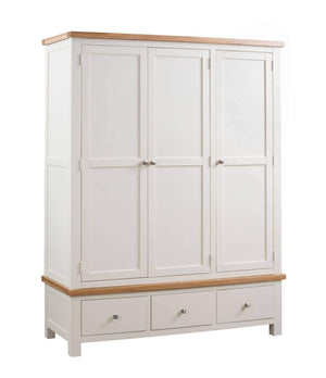 Kingston Cream Triple Wardrobe With 3 Drawers