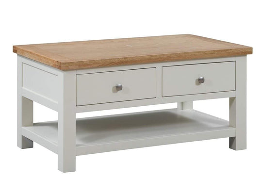 Kingston Cream Coffee Table With 2 Drawers - Inspired Rooms