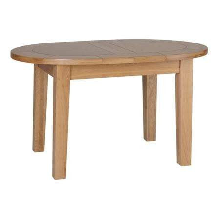 Small D End Solid Oak Extending Table