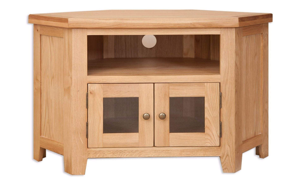 New Havana Oak Glazed Corner TV Cabinet
