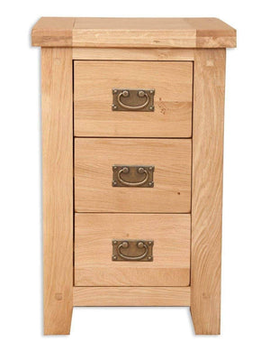 Havana Oak 3 Drawer Bedside Cabinet