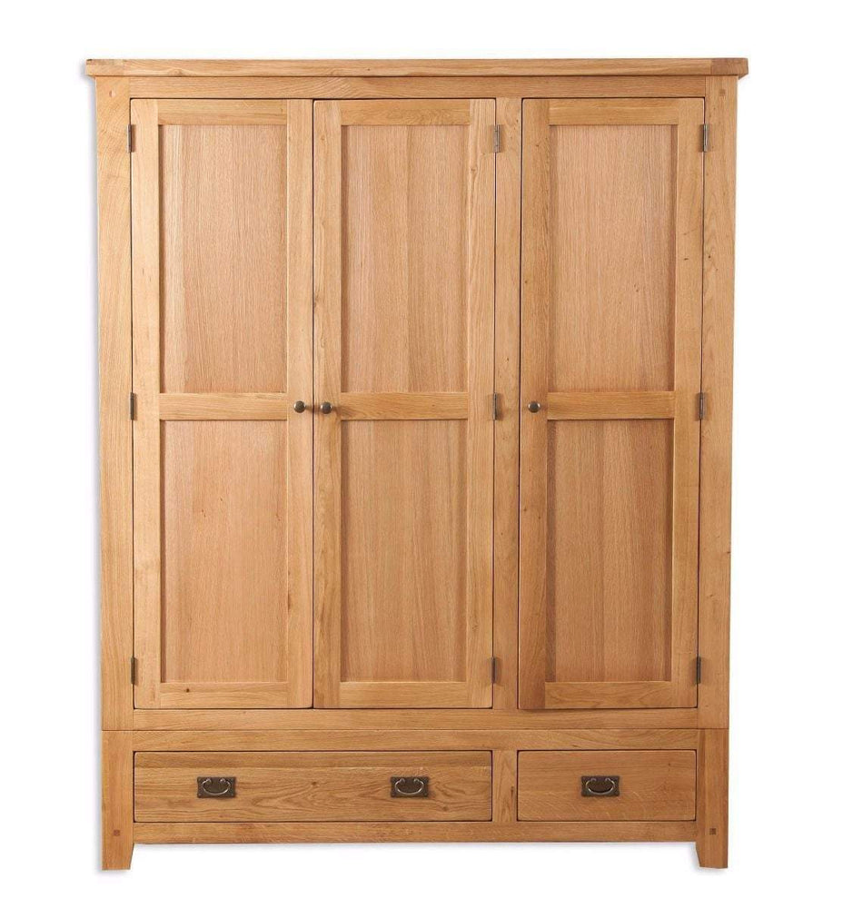 New Havana Oak 3 Door 2 Drawer Wardrobe