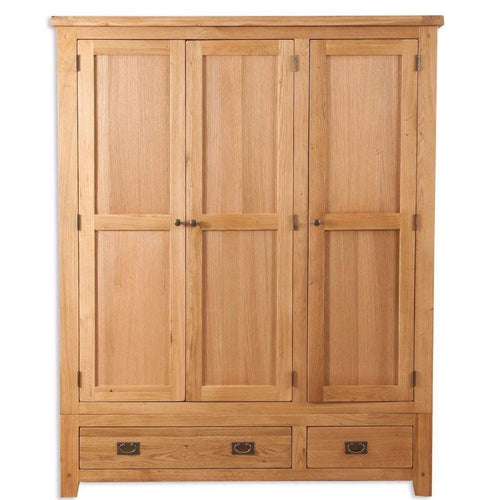 New Havana Oak 3 Door 2 Drawer Wardrobe - Inspired Rooms