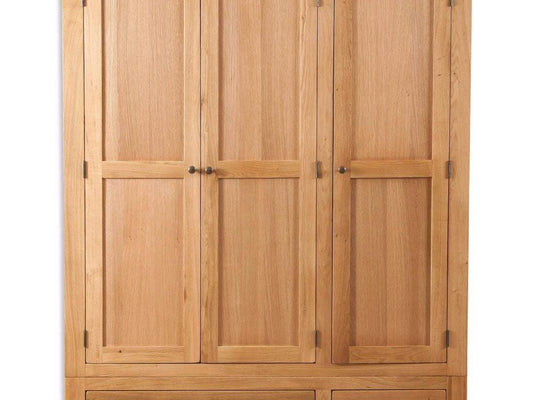 New Havana Oak 3 Door 2 Drawer Wardrobe - Inspired Rooms Furniture Superstore