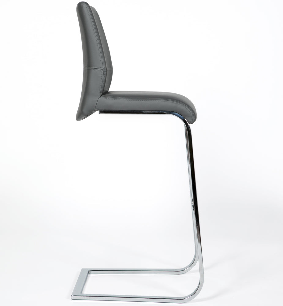 Roma Leather & Chrome Cantilever Bar Stool - inspired-room.myshopify.com