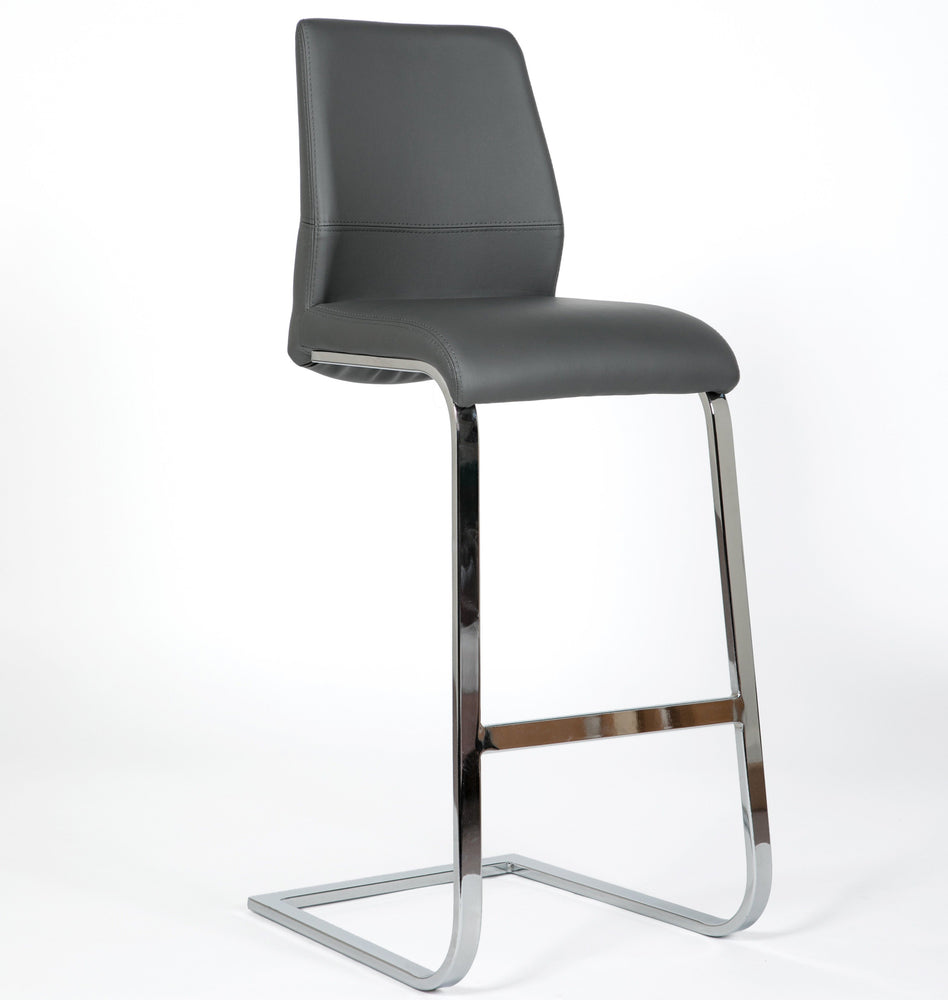 Roma Leather & Chrome Cantilever Bar Stool
